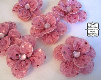 6 Metallic Pink Glitter Silk Flowers - Millinery, Altered Couture, Hair Flowers, Headband Making