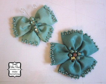 Jade Silk Flower and Butterfly Embellishments - Rhinestone and Pearl - Millinery, Altered Couture, Hair Flowers, Pins