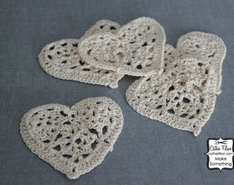 Crochet Hearts - set of 5 - Natural Cream - Scrapbooking Embellishment or Jewelry Supply