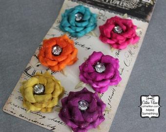 Paper Flowers  - Jeweltone - Prima -  Embellishments - Scrapbooking - Solitare