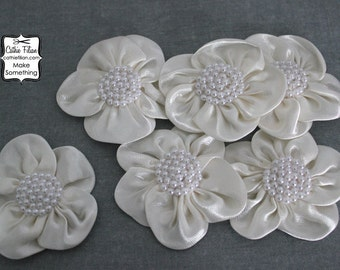 Ivory Pearl and Satin Flowers - 6 pcs - Wedding - Millinery, Altered Art, Hair Flowers, Silk, Embellishments