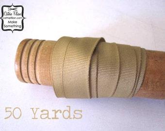 Tea Stain Grosgrain Ribbon - 50 Yards - 5/8 inch wide - Invitation Making, Hair Bows Wedding BULK