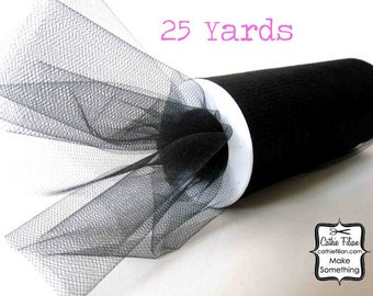 "Black Tulle - 25 Yards - 6"" - favors, streamers, pom-poms, tutus, weddings, showers, party decoration, bows"
