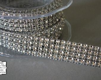 Diamond Ribbon - Silver tone - 1 Yard - fake rhinestone trim - wedding jewelry making flip flop