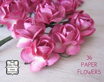 36 Hot Pink Paper Flowers - Small Bouquet - wedding, party favor, bridal, scrapbooking, embellishment