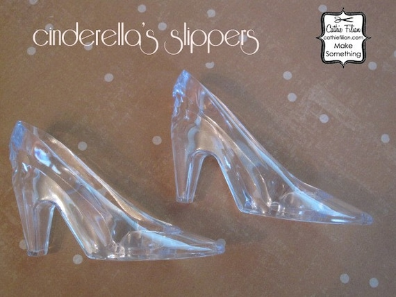 6 glass slippers - embellishing and glittering - christmas ornament - wedding - cinderella - party favor