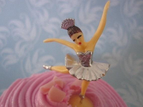 Ballerina Dancer - 12 Cupcake Toppers - 1 dozen silver - embellishment