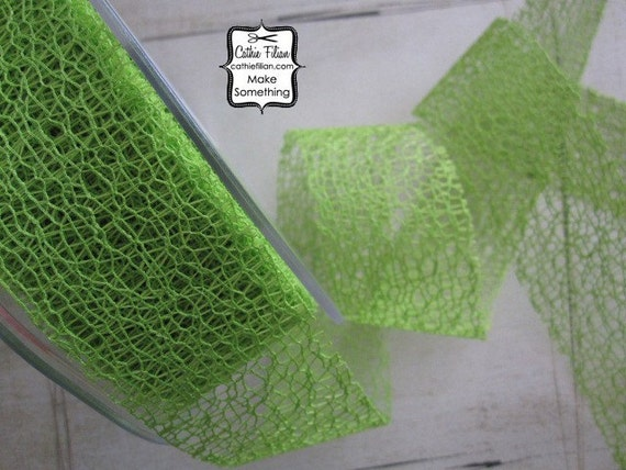 Lime Green Web Ribbon - 3 yards - 1.5 inches wide - scrapbooking, wedding, mixed media art, altered couture