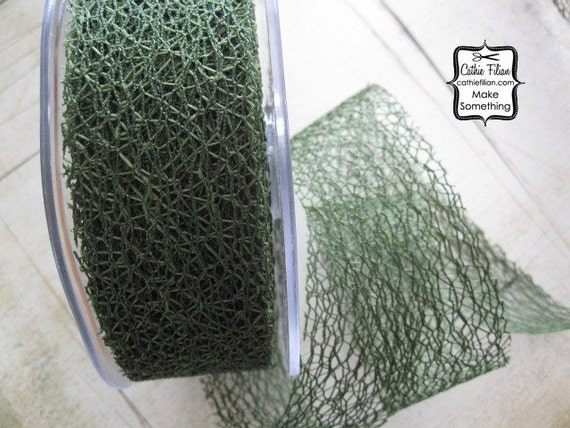 Olive Green Web Ribbon - 3 yards - 1.5 inches wide - scrapbooking, wedding, mixed media art, altered couture