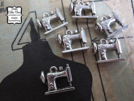 antique sewing machine charms - set of 6