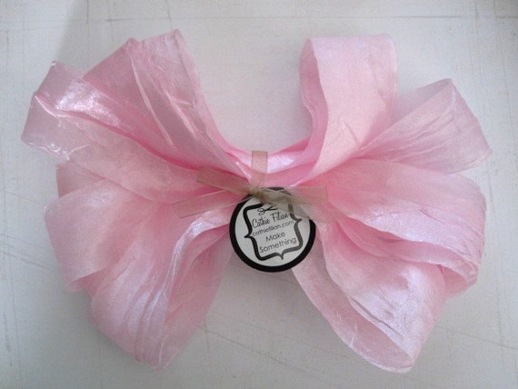 5 yards - DISTRESSED crepe ribbon - baby pink - crinkle aged Altered Couture