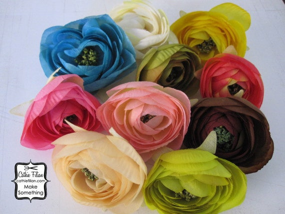 10 Silk Flower Roses - Millinery, Altered Couture, Hair Flowers, Baby Headbands - pink, lime green, blue, tea stain, orange, brown, hot pink