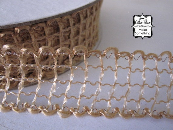 """Rustic Web Ribbon - 3 yards - Tea Stain Tan - 1"""" wide - Altered Couture Art - Wedding - webbed woven"""