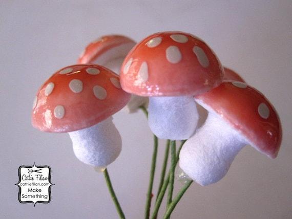 small PINK amanita spun cotton mushrooms - 6 pieces