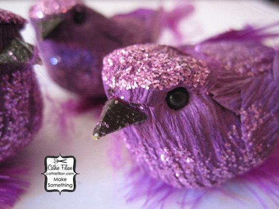 3 Purple Party Birds - Glittered and feathered - wreath making