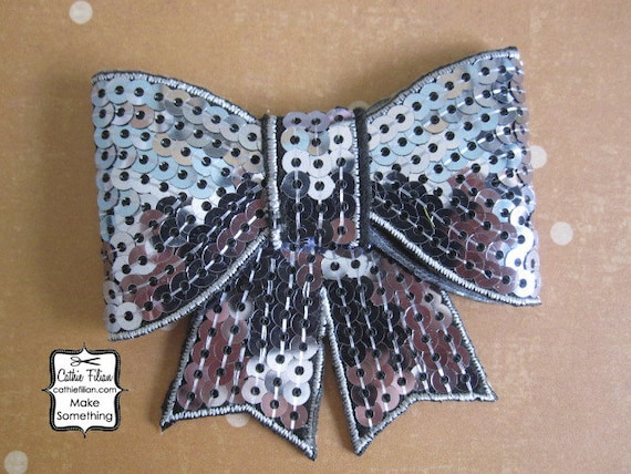 Gunmetal Sequin Puffy Bow Applique - Millinery, Altered Couture, Hair Flowers, Scrapbooking, Hair Bows, Embellishment