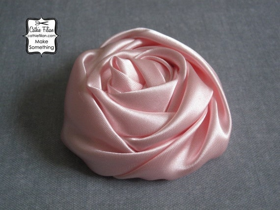 Pink Satin Fabric Flower - Rose - Millinery, Altered Couture, Hair Flowers, Pin