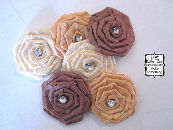 Silk Fabric Flower Embellishments - 6 pcs - Ivory, Tea Stain, Coco Brown - Rhinestone Millinery, Altered Couture, Hair Flowers, Pins