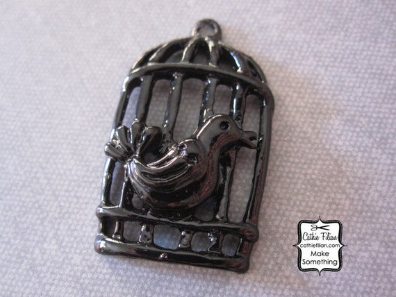 Black Bird Cage Pendant - Embellishment - Charm - Mixed Media - Altered Art