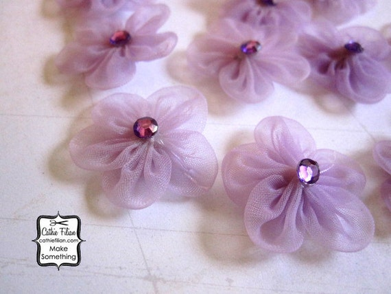 Mini Flowers - 12 daisies - lilac purple and rhinestone - Millinery, Altered Couture, Hair Flowers, Embellishments
