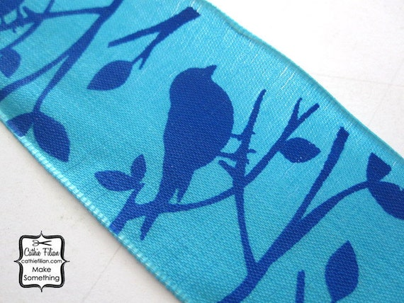 Bird Ribbon - Turquoise and Royal Blue - 3 yards - 1.5 inches wide - wired edge