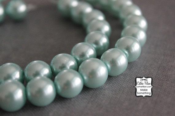Aqua - Pearl Beads - 1 Strand of Pearls - 10mm - Glass - Pastel Blue Green