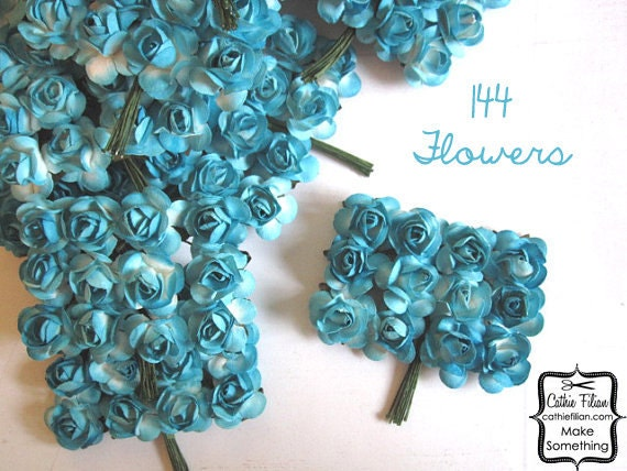 144 Turquoise Paper Flowers - small bouquet - weddings - favors - invitations - paper goods
