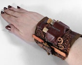 Steampunk Cuff APOTHECARY LEATHeR Wrist Cuff Cork Vials COPPER Mesh Bamboo Copper Mesh Wire Coils Punk Cuff  - Steampunk Cuffs by edmdesigns