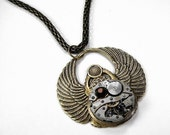Steampunk Jewelry Necklace Brass Phoenix Rising WINGS Vintage Watch Movement Topaz Swarovski GORGEOUS Gift - Steampunk Jewelry by edmdesigns