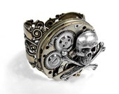 Steampunk Ring, Steampunk Jewelry Watch Movement Gear Mens Steampunk Ring, BIKER ROCKER Ring Skull Bones Womens COOL Ring - by edmdesigns