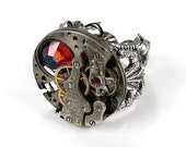 Steampunk Ring Vintage INDUSTRIAL Silver Watch Movement Red Mix Crystal Adjustable Mens Ring AWESOME STEAMY Steampunk Jewelry by edmdesigns