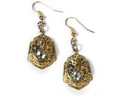 Steampunk Jewelry Earrings Vintage Gold Earrings Jeweled Watch FLORAL Wedding Bridal Anniversary Girlfriend Earrings - Jewelry by edmdesigns