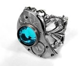 Steampunk Jewelry Ring Womens Silver ETCHED Watch Part Turquoise Crystal Featured on Cover of AUXILIARY Magazine - Steampunk by edmdesigns