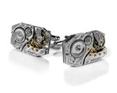 Mens Watch Cufflinks Vintage ILLINOIS Jeweled Cuff Links WEDDING Anniversary Groom Father's Day Dad  BREATHTAKING - Jewelry by edmdesigns