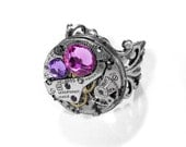 Steampunk Jewelry Ring Vintage Silver Ruby Jeweled GoRGEOUS Watch ADJUSTABLE Rose Lilac Crystals - STUNNING Steampunk Jewelry by edmdesigns