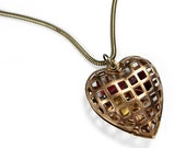 Steampunk Jewelry Necklace Vintage CAGED HEART Swarovski Red Crystal Heart Gears Wedding Mothers Valentine's Day - Jewelry by edmdesigns