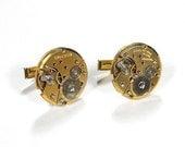 Steampunk Round SWISS Vintage Jeweled GOLD Watch Movement Cuff Links Cufflinks