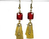 Steampunk Jewelry Earrings Watch Parts Antique Brass ORNATE Flourish Rich RED Czech Glass BEAUTIFUL - Steampunk Jewelry by edmdesigns
