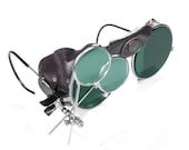 Steampunk Goggles Vintage American Optical Steampunk Glasses GREEN Tint BROWN Leather Side Shields Magnifier Loupes STUNNING by edmdesigns