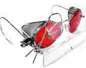 Steampunk Goggles - Rare RED TINT Welsh Steampunk Glasses Mesh Side Shields Magnifier Loupes Metal Case AWESOME - Steampunk by edmdesigns