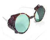 Steampunk Goggles Antique Willson Rare TORTOISE SHELL Frames Driving Glasses Green Tint MINT Condition by from edmdesigns