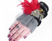 Steampunk Cuff GLAMOUR Wrist Cuff Black VELVET Red Feathers Key Gears Victorian Wedding Mother's Day Cuff - Steampunk Clothing by edmdesigns
