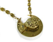 Steampunk Jewelry Necklace Victorian ORNATE Gold Pocket Watch 1800s FUSEE Floral Necklace Wedding Anniversary Gift - Steampunk by edmdesigns