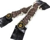 Steampunk Shirt Garters - Mens Sleeve Garter Band Black Mocha Leather Brass Gears Wedding Garter - ORIGINAL Steampunk Clothing by edmdesigns