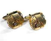 PAUL BREGUETTE Steampunk Cufflinks Vintage RARE Gold Mens Luxury Cuff Links Fathers Day Wedding Anniversary Groom - Jewelry by edmdesigns