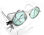 Steampunk Goggles Antique WILLSON AQUA Tinted Lenses Perforated Side Shields Clip 2 Loupes RaRE Pair Burning Man  - Goggles by edmdesigns