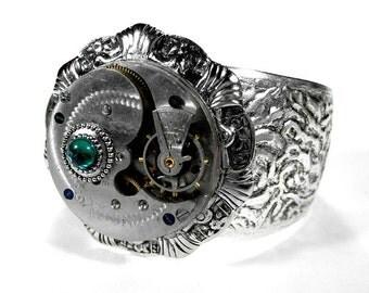 Steampunk Cuff - Vintage Adjustable Cuff Bracelet Etched Pocket Watch EMERALD Green Glass Stone FABULOUS - Steampunk Jewelry by edmdesigns