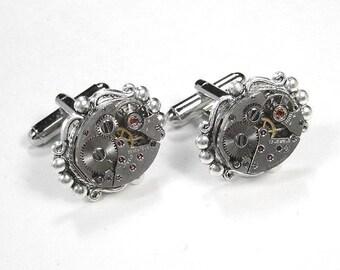 Steampunk Jewelry Mens Cufflinks Vintage Oval Watch Cuff Links Silver BEADED Wedding Anniversary Groomsmen Cufflinks - Jewelry by edmdesigns