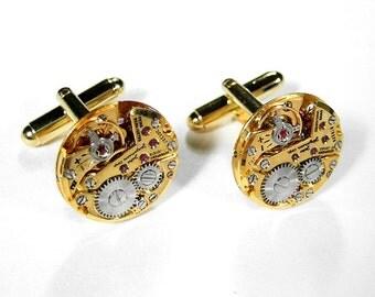 Steampunk Jewelry, Mens Watch Cufflinks JULES JURGENSEN GoLD Jewel Mens Wedding Groom Anniversary Fiance Cufflinks - Jewelry by edmdesigns
