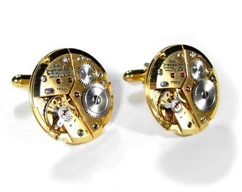 Mens Gold Watch Cufflinks GOLD JULES Jurgensen RARE Watch Cuff Links Wedding Anniversary Groom, Fiancee Cufflinks - Jewelry by edmdesigns